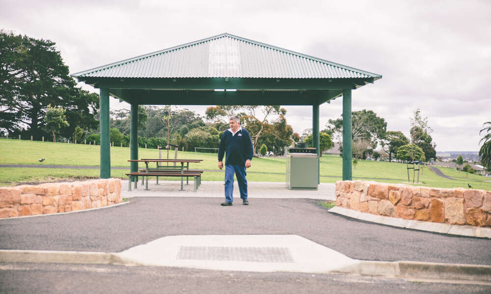 Lions Centennial Park Committee Chairperson Peter Pignotti at the new Lions Centennial Park located at the old Mount Gambier hospital grounds.