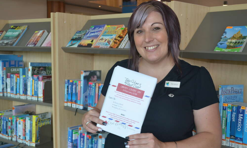 City of Mount Gambier Library Youth Services Coordinator Terasa Nearmy with a 'Blind Date'.
