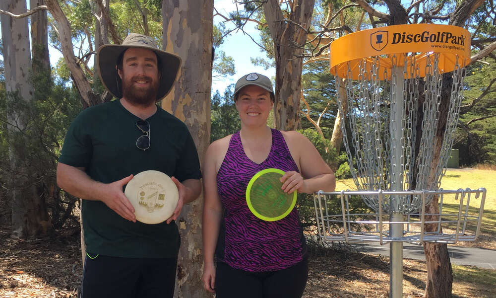 Canadian tourists Josh Prine and Sam Marie at the Mount Gambier Disc Golf Park. They travelled to Mount Gambier to use the course after it was recommended to them by Granite Mountain Disc Golf's Nathan Lee in Applethorpe, Queensland.