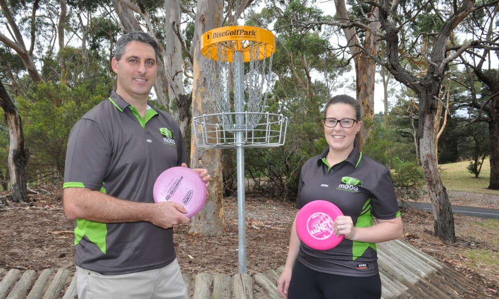 Mount Gambier Disc Golf Club President Ryan Nicholson and club member Nicole McPherson.