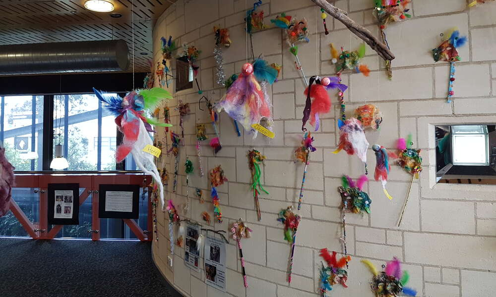 Artwork on display at the Main Corner as part of the Children's Artistic Voice Learning Exhibition in 2016.