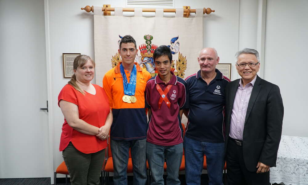 Photo: Left to Right - Cr Hanna Persello, Athletes Amechai Bawden and Jamal Seiler with Limestone Coast All Ability Soccer Coach Keith Seiler and Mayor Andrew Lee.
