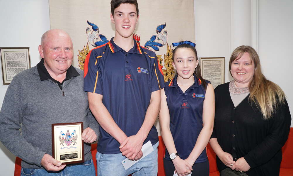 Commercial Club Inc. President Graham Dent, joint Exceptional Junior Awardees Mitchell Hunter and Emily Close and Councillor Hanna Persello.