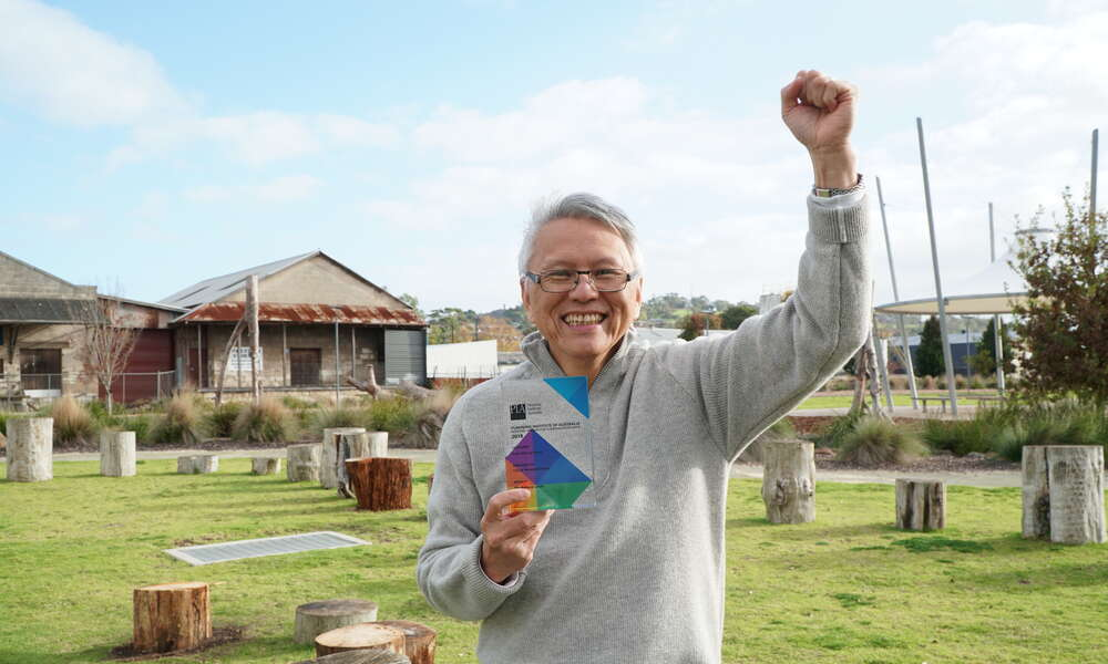 City of Mount Gambier Mayor Andrew Lee celebrates the national Planning Institute Australia (PIA) From Plan to Place award win for the Mount Gambier Railway Lands.