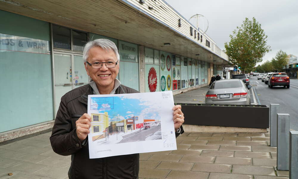 City of Mount Gambier Andrew Lee with concept plans set to transform the derelict former Fidler and Webb shopping centre site on Commercial Street East Mount Gambier.