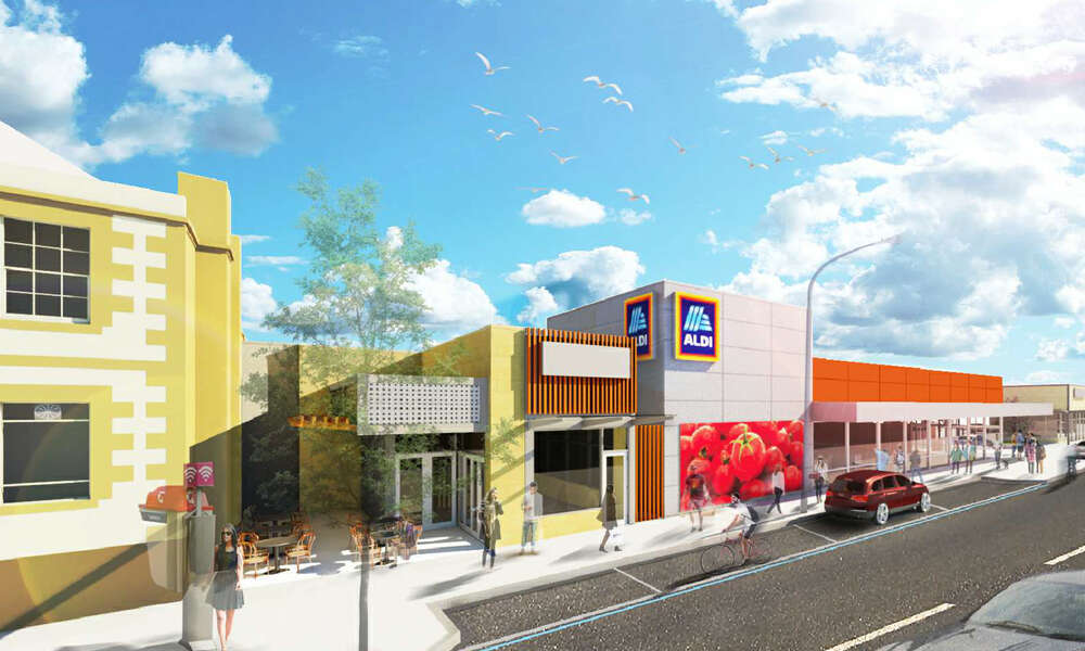 ALDI 3D concept plan for the former Fidler and Webb shopping centre site on Commercial Street East Mount Gambier.