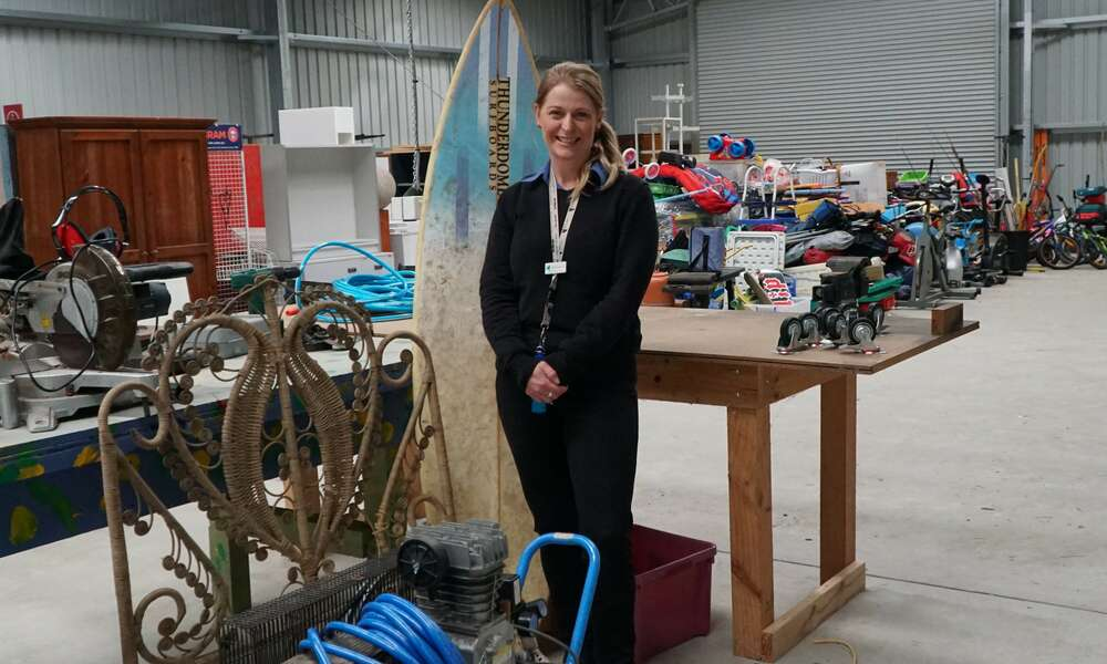 City of Mount Gambier ReUse Market Coordinator Rebecca Mobbs is pictured with some of the many items that have been saved from landfill ready to go on sale when the facility opens in the coming months.