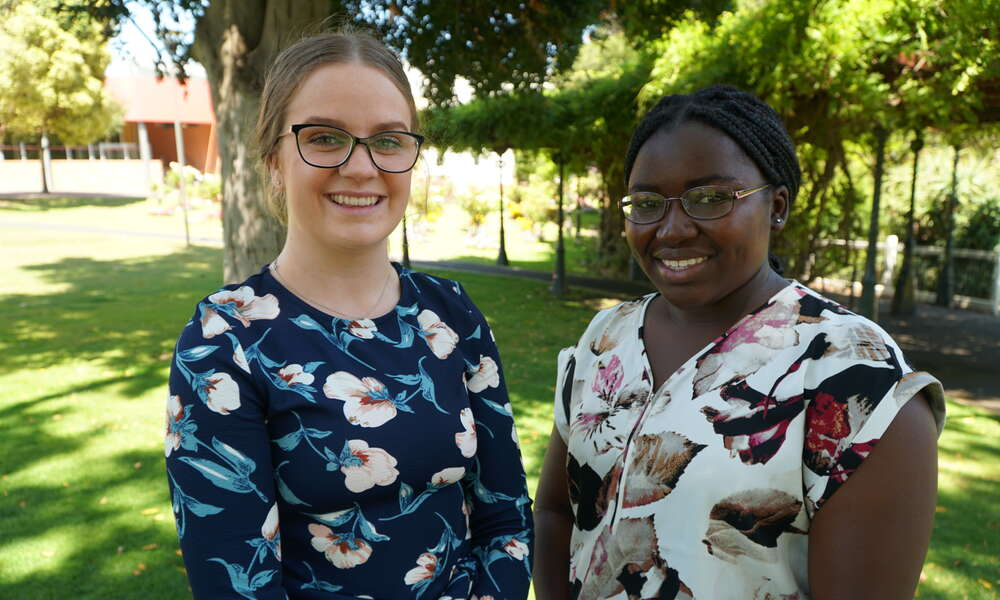Previous Mount Gambier and District Tertiary Health Education Grants recipients Alice Telford and Vimbiso Chiodze.
