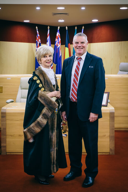 City of Mount Gambier Mayor Lynette Martin and outgoing CEO Mark McShane. Photo: Kinship Productions