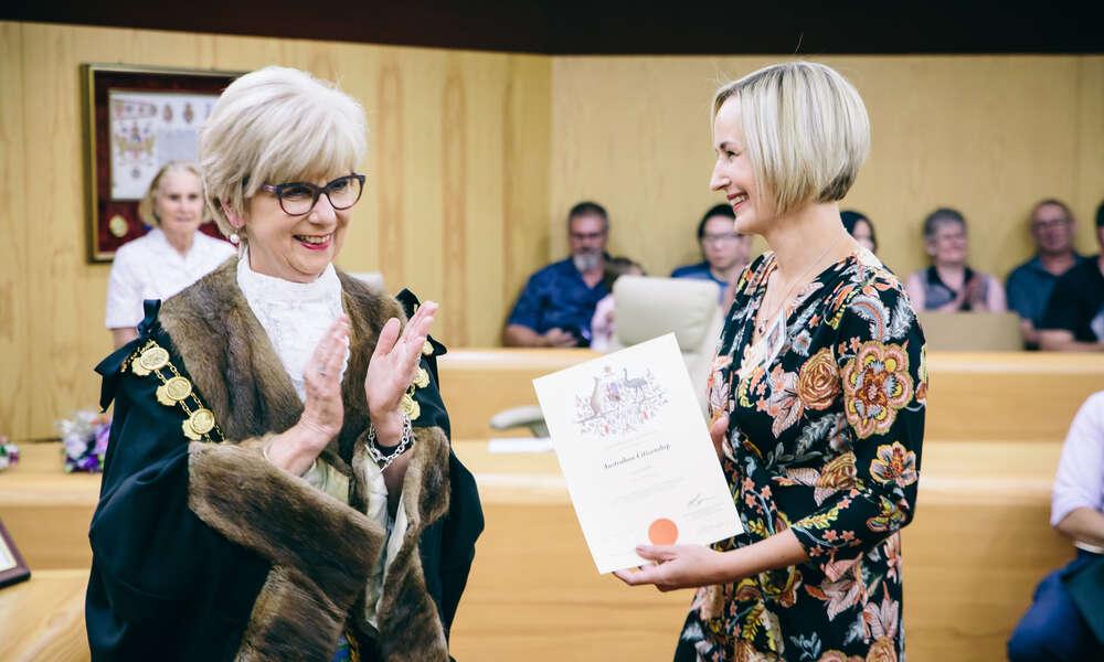 Mayor Lynette Martin OAM congratulates Mrs Corne Ryan on being granted Australian citizenship.