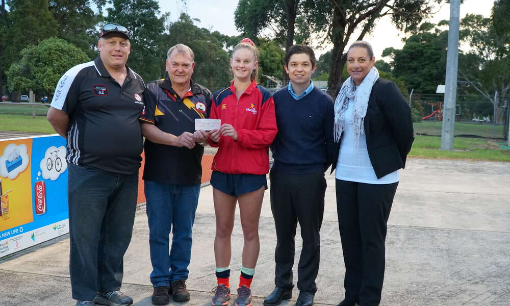 A cheque was presented to Georgia Clarke on Wednesday evening at the Lower South East Hockey clubrooms by members of the Commercial Club Committee Greg McCallum and Michael Cameron and Councillors Christian Greco and Kate Amoroso.