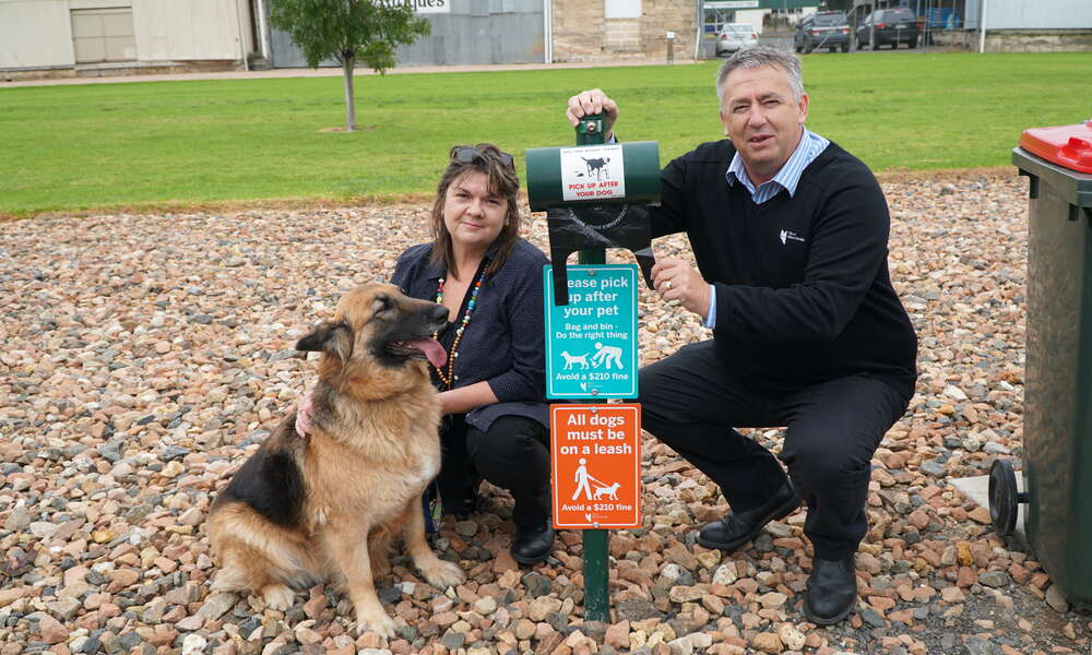 City of Mount Gambier General Inspector Michelle Abramovic (left) and Team Leader General Inspectorate Derek Ferguson urge pet owners to be responsible or risk facing fines.