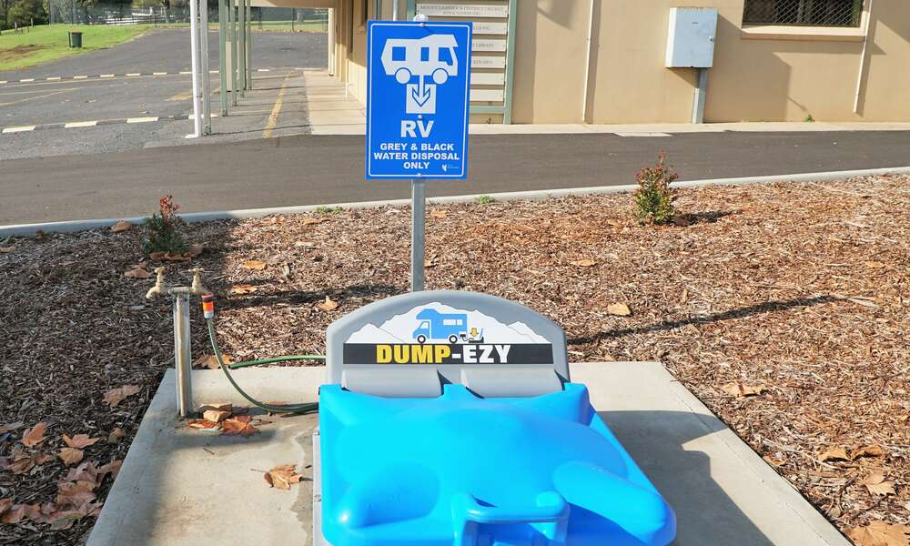 Grey and black water dump point located at the newly completed RV parking area at Frew Park.