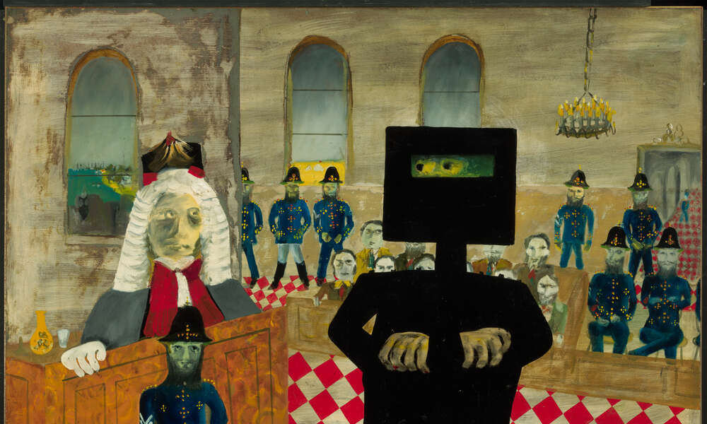 Sidney Nolan The trial, 1947, from the Ned Kelly series 1946 – 1947, enamel paint on composition board, 90.70 x 121.20 cm, Gift of Sunday Reed, 1977.