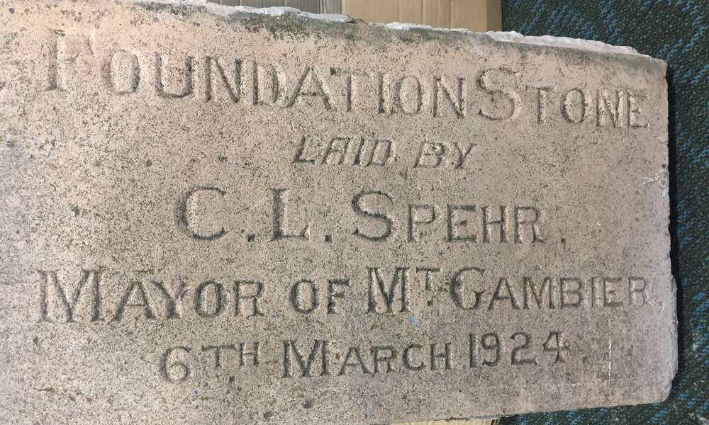 The Mount Gambier power station foundation stone formerly located on the western side of the old Target store building.