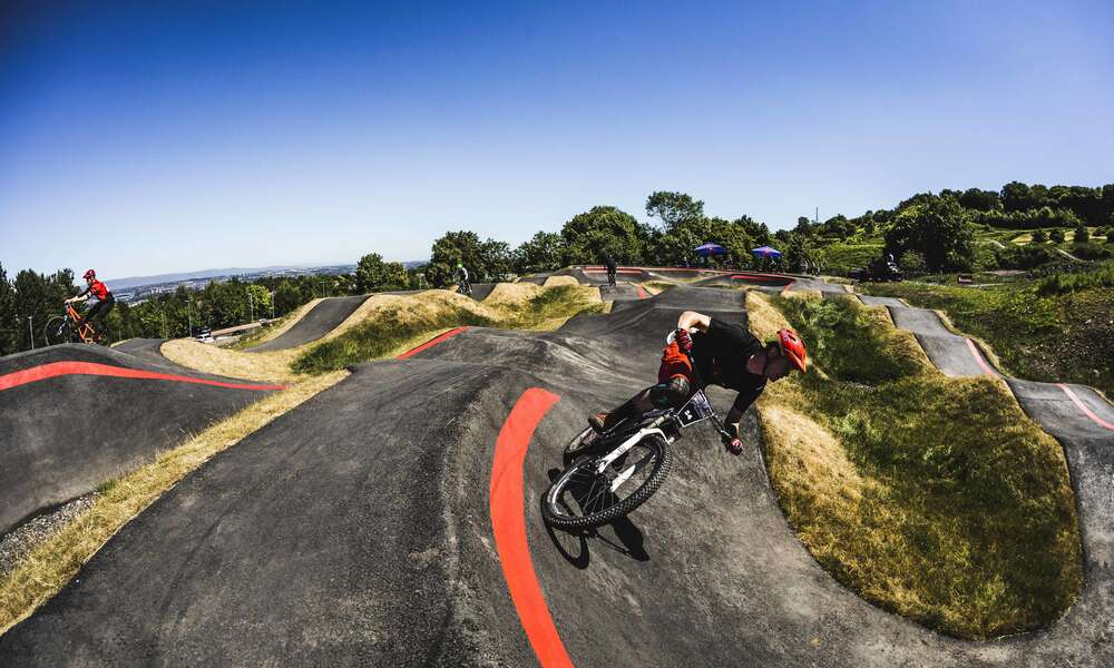 Pump track concept built by Velosolutions, located in Glasgow Scotland.