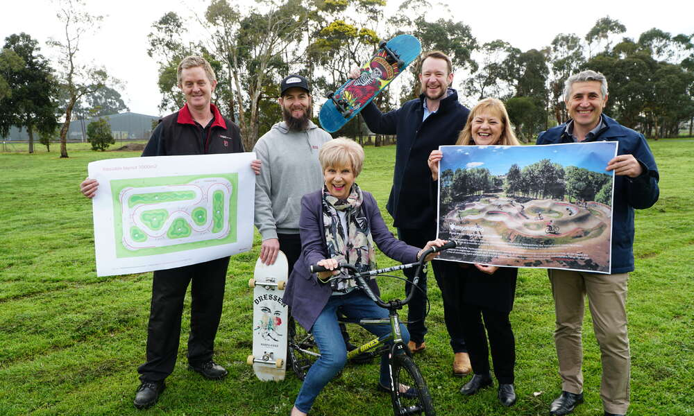 Mount Gambier Mountain Bike Club president Andrew Jones (left), club member Nick Brooks with Mayor Lynette Martin OAM and Councillors Ben Hood, Sonya Mezinec and Frank Morello on site at Hastings Cunningham Reserve where the pump track will be built later this year.