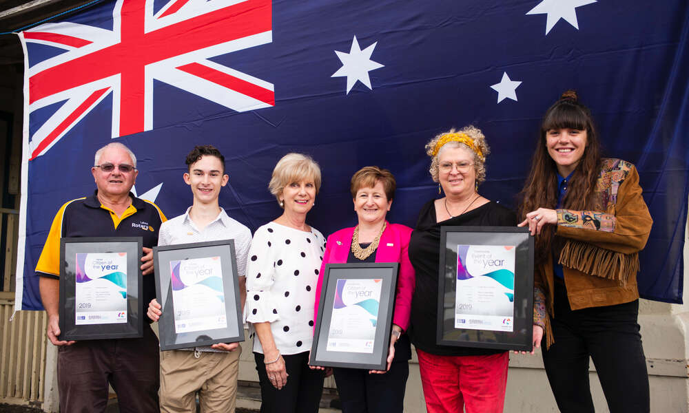2019 Australia Day awardees: Senior Citizen of the Year Graham Robinson (left), Young Citizen of the Year Joseph McMahon, City of Mount Gambier Mayor Lynette Martin OAM, Citizen of the Year Sharon Tuffnell and Community Event of the Year representatices Monica Hart and Louise Adams (Fringe Mount Gambier).