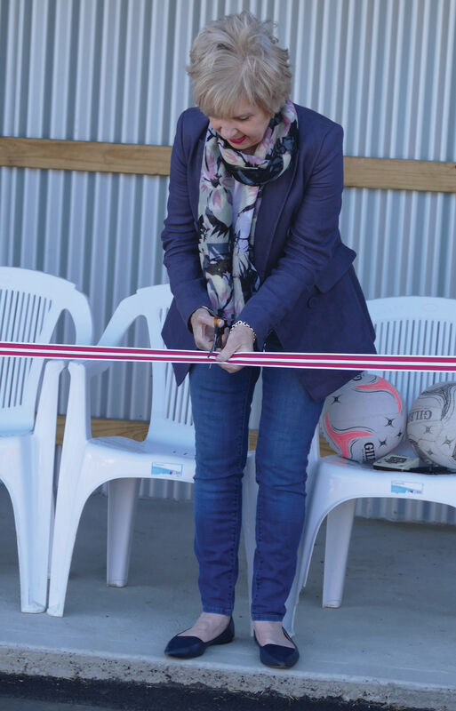Mayor Lynette Martin cut the ribbon at the official opening of the South Gambier Netball Club resurfaced courts and new shelter sheds, funded in part by the City of Mount Gambier Sport and Recreation Major Capital Works Program.