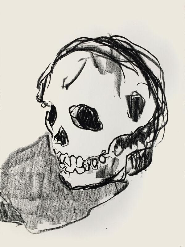 RORY CARTER, Skull, 2019, pastel on paper.