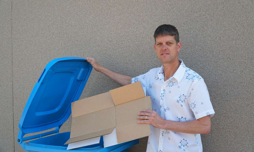 General Manager City Infrastructure Nick Serle encourages the community to continue using kerbside recycling bins for cardboard despite a recent decline in the market value for the material.