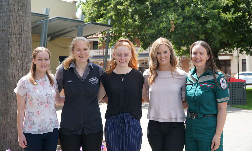 Previous Tertiary Health Education Grant recipients Jessica Henman, Anne Zwijnenburg, Cody Lewis, Amelia Hancock and Chloe Slarks attended the 2020 program launch.