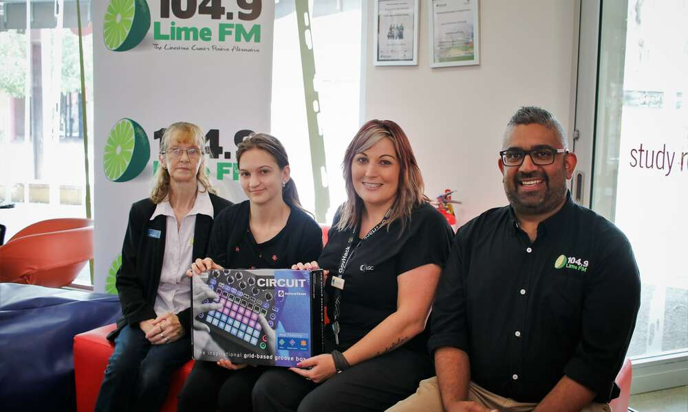 104.9 Lime FM Production volunteer Bronwyn Sims, Library Trainee Laryssa King, Library Youth Services Coordinator Terasa Nearmy and 104.9 Lime FM Station Manager Rohan Battersby are excited to launch the Groovebox after school program at the Mount Gambier Library.