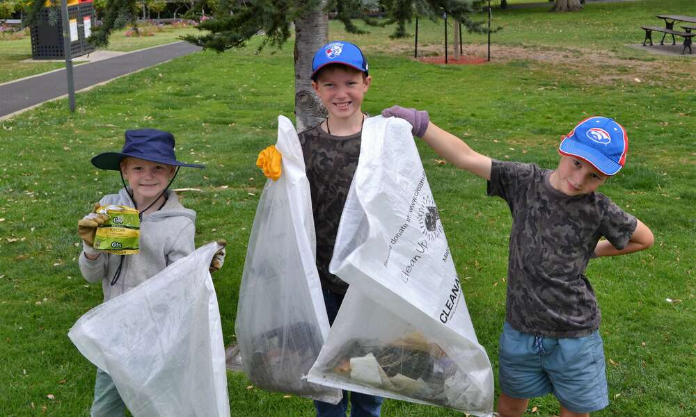 Tommy, Peter and Matthew are all ready for Clean Up Australia Day on Sunday.