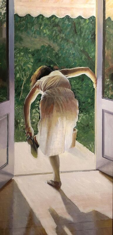 'Through the Looking Glass' (Brian Dunlop, born Sydney 1938 – 2009, oil on canvas) from The Riddoch Collection will be displayed as part of the Inside/Out exhibition.