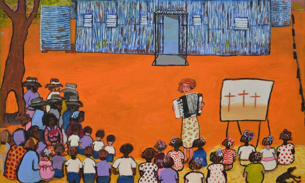 Kunyi June Anne McInerney, Sunday Service, 2016, acrylic on canvas, 61x91 cm. Image courtesy of the artist.