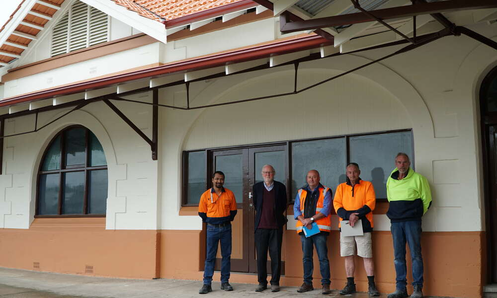 Right to left: City of Mount Gambier Manager Operations and Engineering Abdullah Mahmud, Habitable Places architect and local heritage advisor Richard Woods, City of Mount Gambier Building Maintenance Coordinator Trevor Pettingill and Steplen Constructions Manager Stephen Smith and Construction Manager Glen Leggett outside the refurbished Railway Station building.