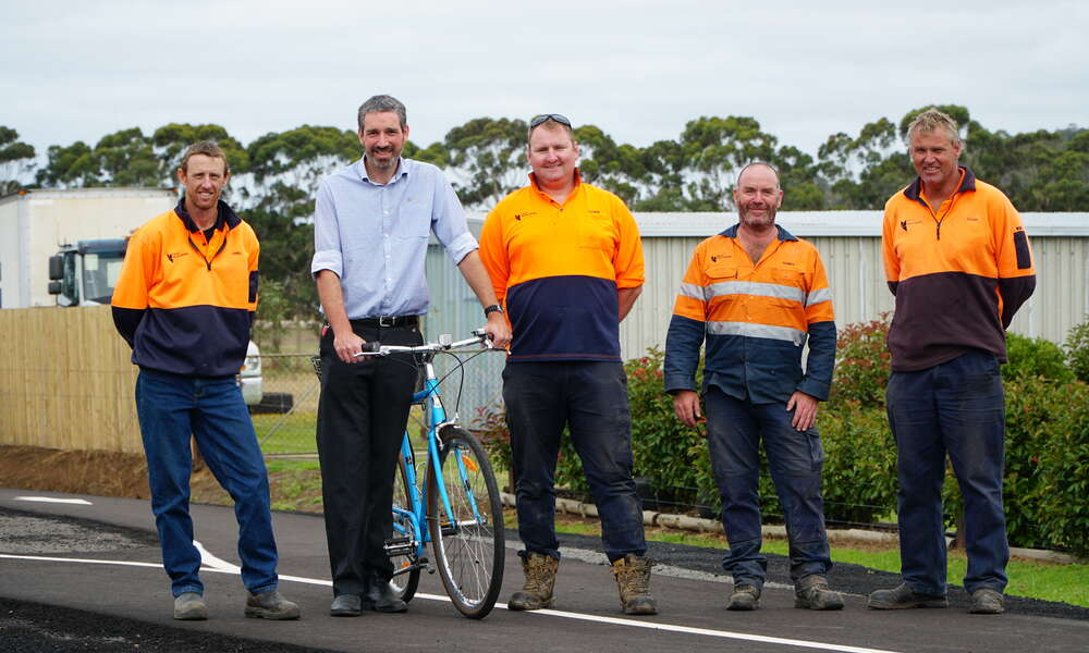 City of Mount Gambier Construction and Maintenance Coordinator Chris Habets (left), Environmental Sustainability Officer Aaron Izzard and Construction and Maintenance workers Patrick Grubb, Corey Radford and Glen Lewis recently completed work on stage four of the Mount Gambier Rail Trail.