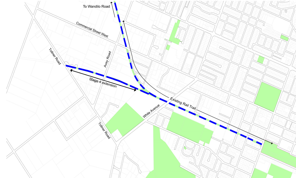 Stage four of the Rail Trail extends 1.2km west to Tollner Road, complementing the previous extension to Wandilo Road and bringing the total length to 12.4km.