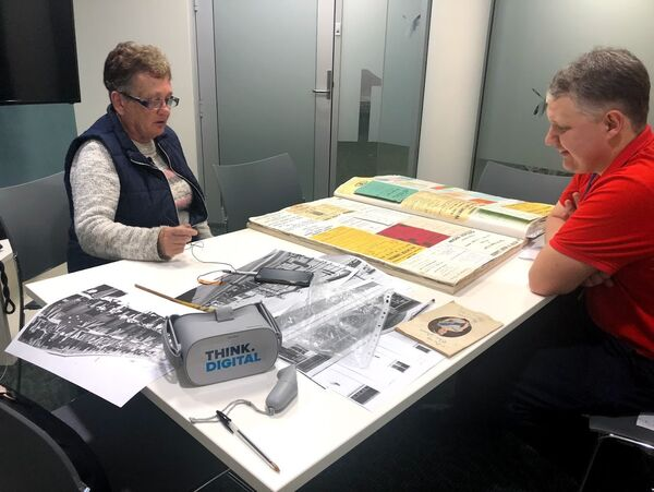 Project participant Liz Vears reminisces while recording stories for the Immersive Storytelling project. The stories of locals have been captured for the public to hear alongside 360 degree footage through the use of Virtual Reality technology.