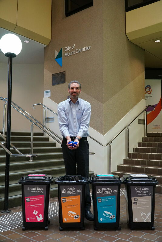 City of Mount Gambier Environmental Sustainability Officer Aaron Izzard with Council's new small scale recycling bins located at the Civic Centre.