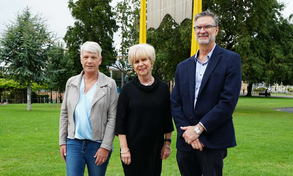 ac.care Manager Homelessness Services Trish Sparks (left), City of Mount Gambier Mayor Lynette Martin and ac.care CEO Shane Maddocks.