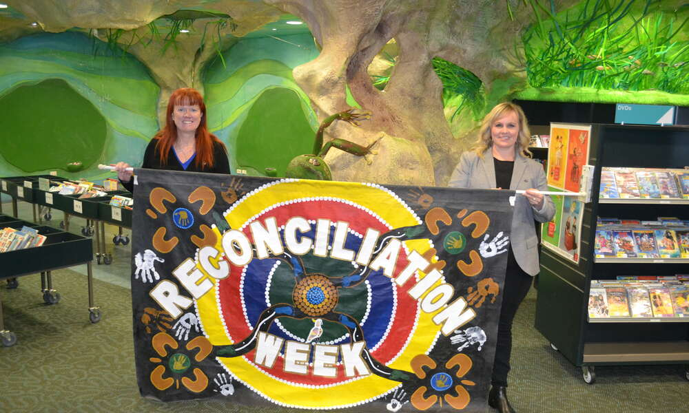 Library Manager Georgina Davison and Library Children's Services Coordinator Kelly Lynch will host a celebration of the dual naming of the Mount Gambier Library Children's Cave during National Reconciliation Week.