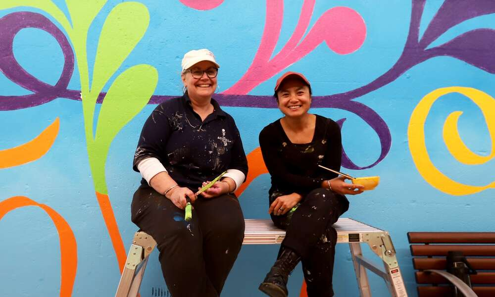 2020/2021 Creative Arts Fund recipients Ruth Stephenson and Pariya Ziakas completed their mural in Ripley Arcade earlier this year celebrating the vibrant dance culture in Mount Gambier. Photo credit: Kate Hill Creative
