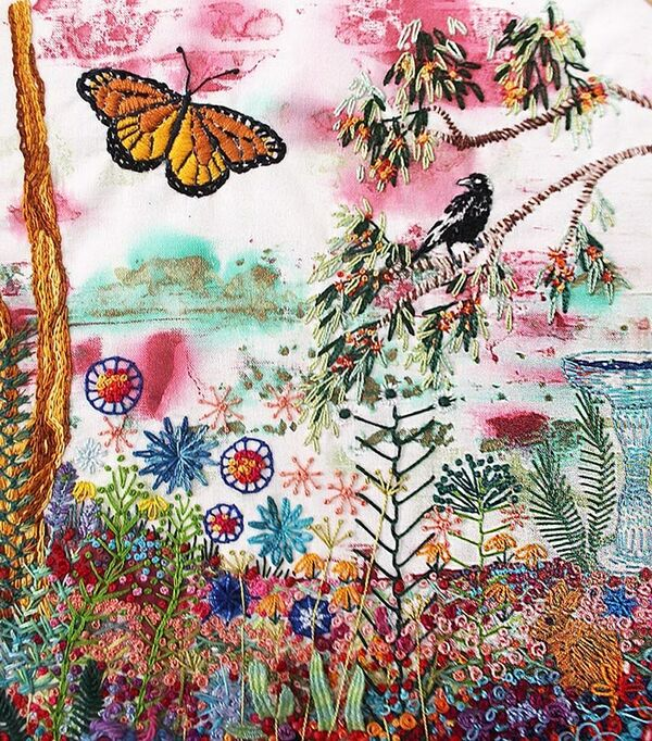 Embroidery by Julie Ann McEwen (detail) will form part of the Mount Gambier Branch of the Embroiders' Guild of SA 50th anniversary exhibition.