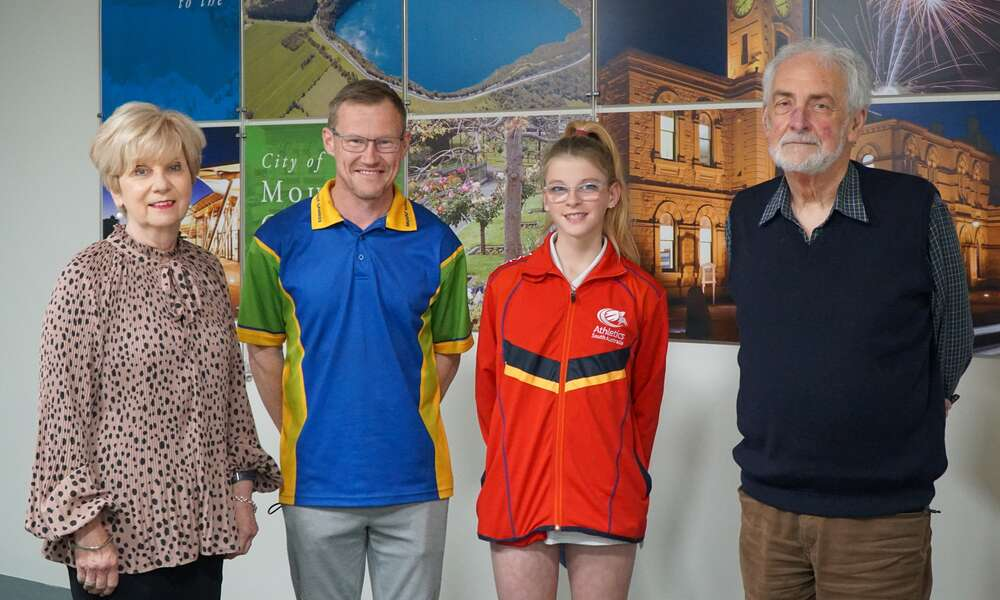 Mayor Lynette Martin with Mount Gambier and Districts Little Athletics President Michael Ellis, Exceptional Junior Awardee Emily Lynch and Commercial Club Chairman Leigh Dowdell.
