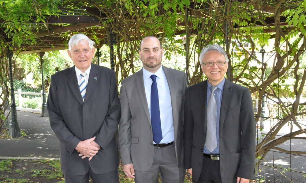Tertiary Health Education Grant Committee Chairperson Ken Stafford (left), former grant recipient Sam Sinclair and City of Mount Gambier Mayor Andrew Lee.